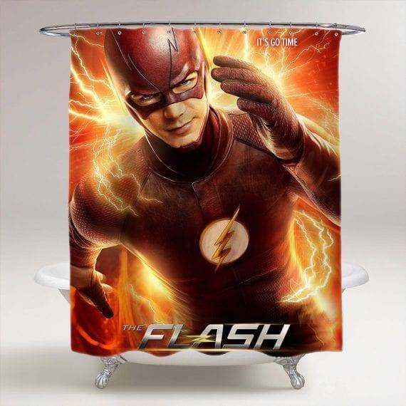 The Flash Superhero Bathroom Shower Curtain