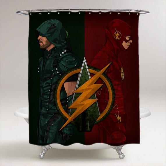 The Flash vs Arrow Bathroom Shower Curtain