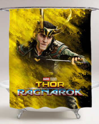thor ragnarok loki bathroom shower curtain