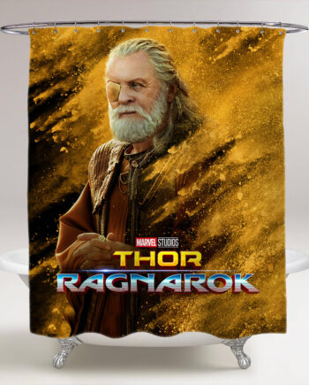 thor ragnarok odin bathroom shower curtain