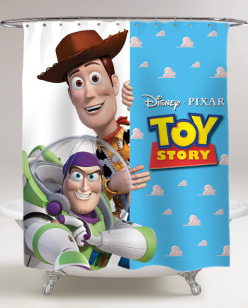 Toy Story Sheriff Woody Buzz Lightyear Bathroom Shower Curtain