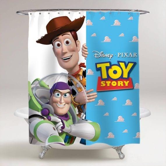 Toy Story Sheriff Woody Buzz Lightyear Shower Curtain