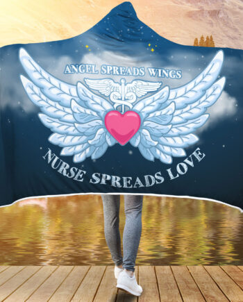 Angel Spreads Wings, Nurse Spreads Love Hooded Blanket 1