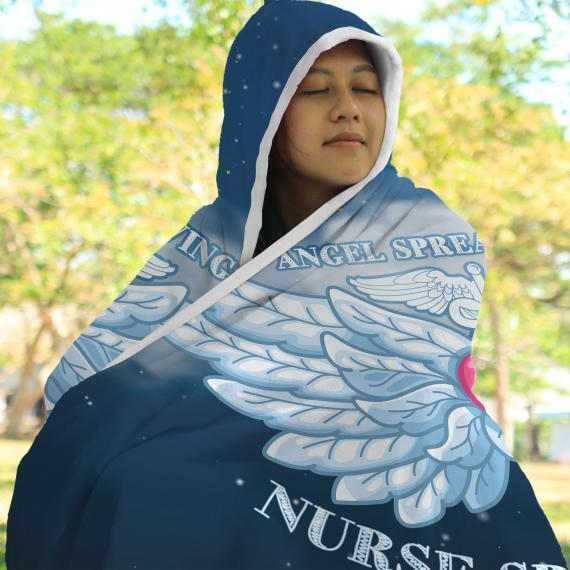 Angel Spreads Wings, Nurse Spreads Love Hooded Blanket 2