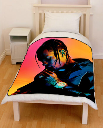travis scott rapper 2018 bedding throw fleece blanket