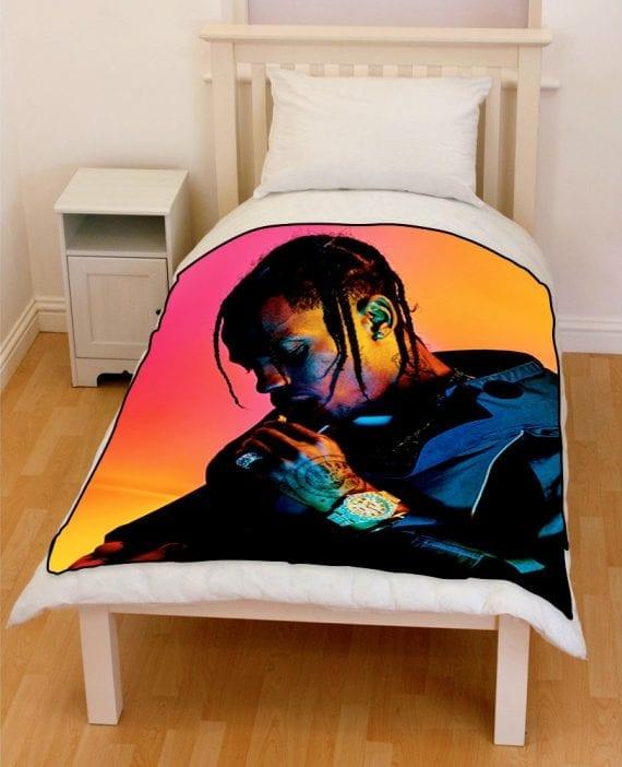 travis scott rapper 2018 bedding throw fleece blanket