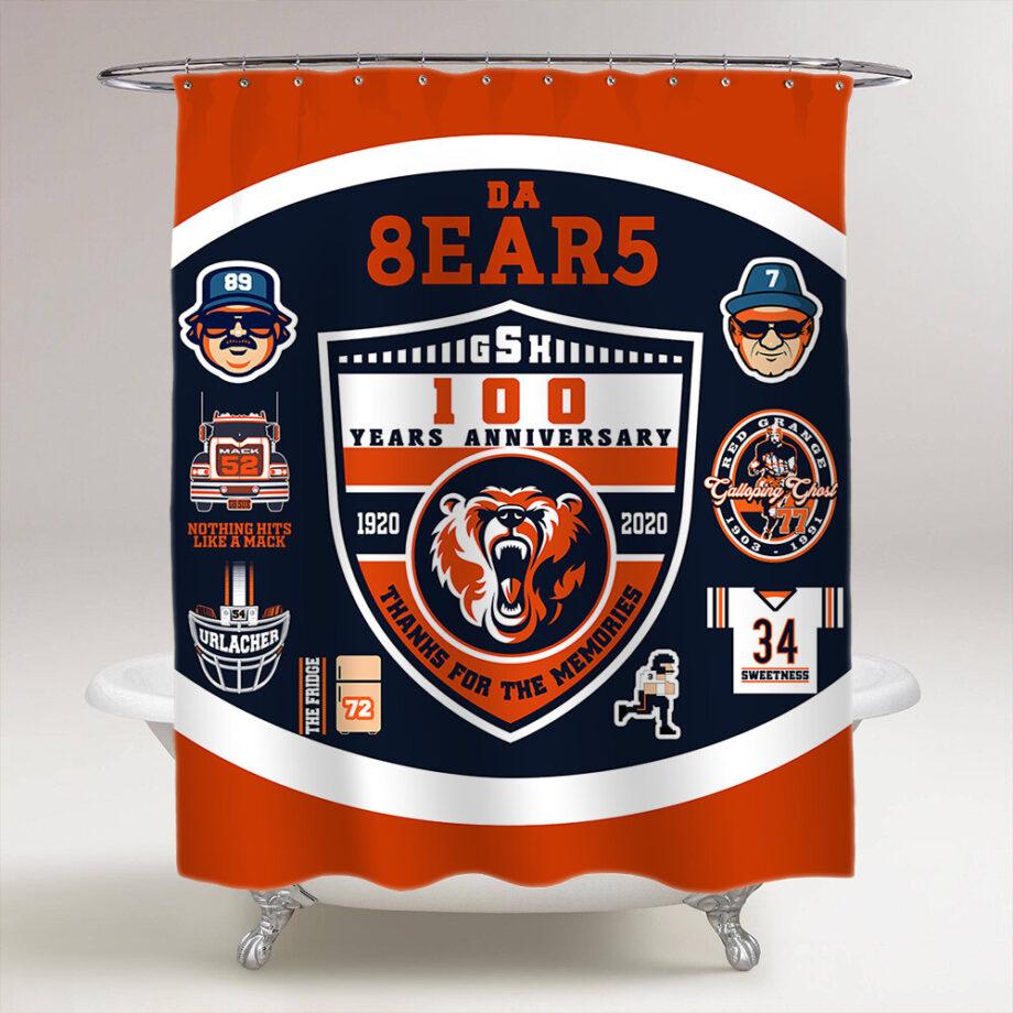 chicago bears 100 years shower curtain