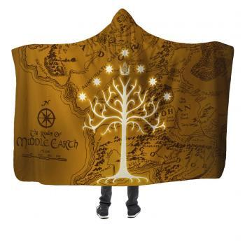 white tree of gondor lord of the rings hooded blanket