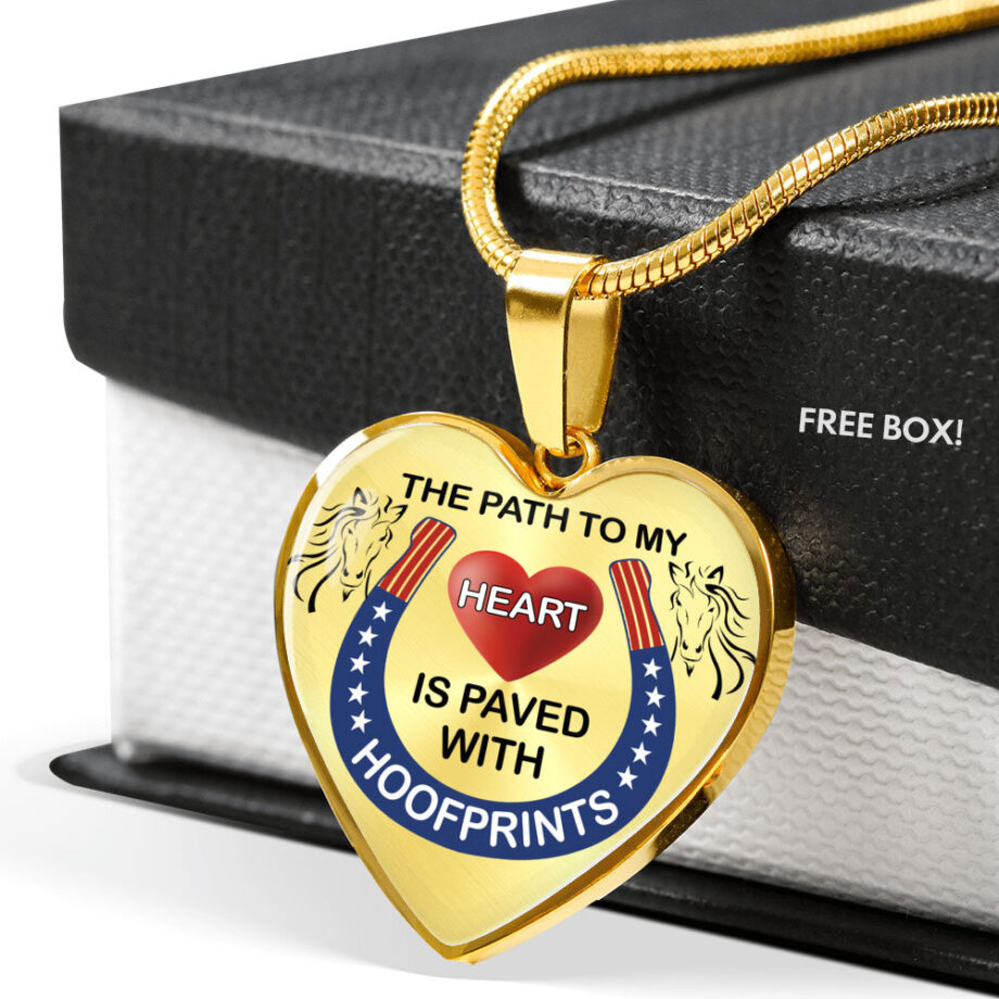 Path to my heart paved by hoofprints silver necklace gold free box