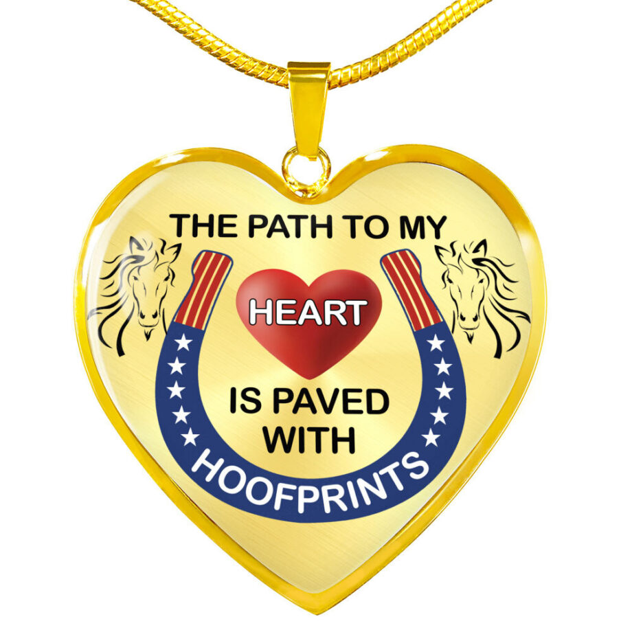 Path to my heart paved by hoofprints silver necklace gold