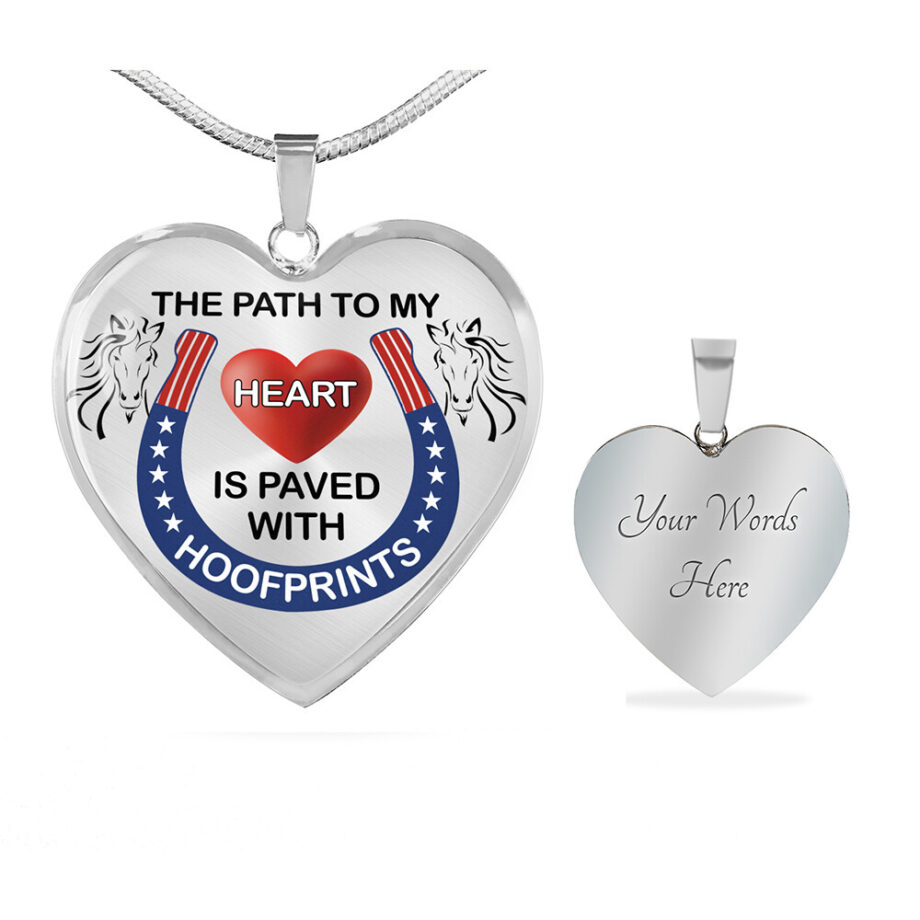 Path to my heart paved by hoofprints silver necklace 1