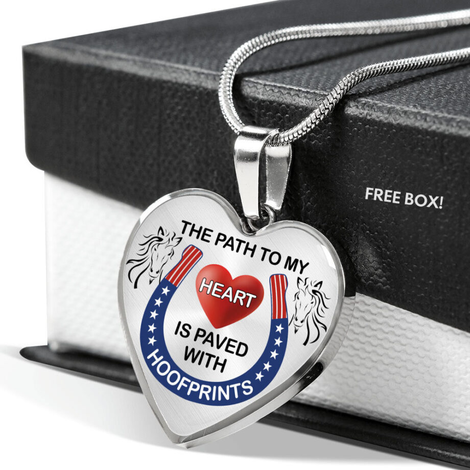 Path to my heart paved by hoofprints silver necklace silver free box