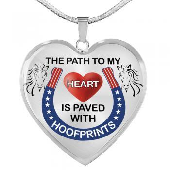 Path to my heart paved by hoofprints silver necklace silver