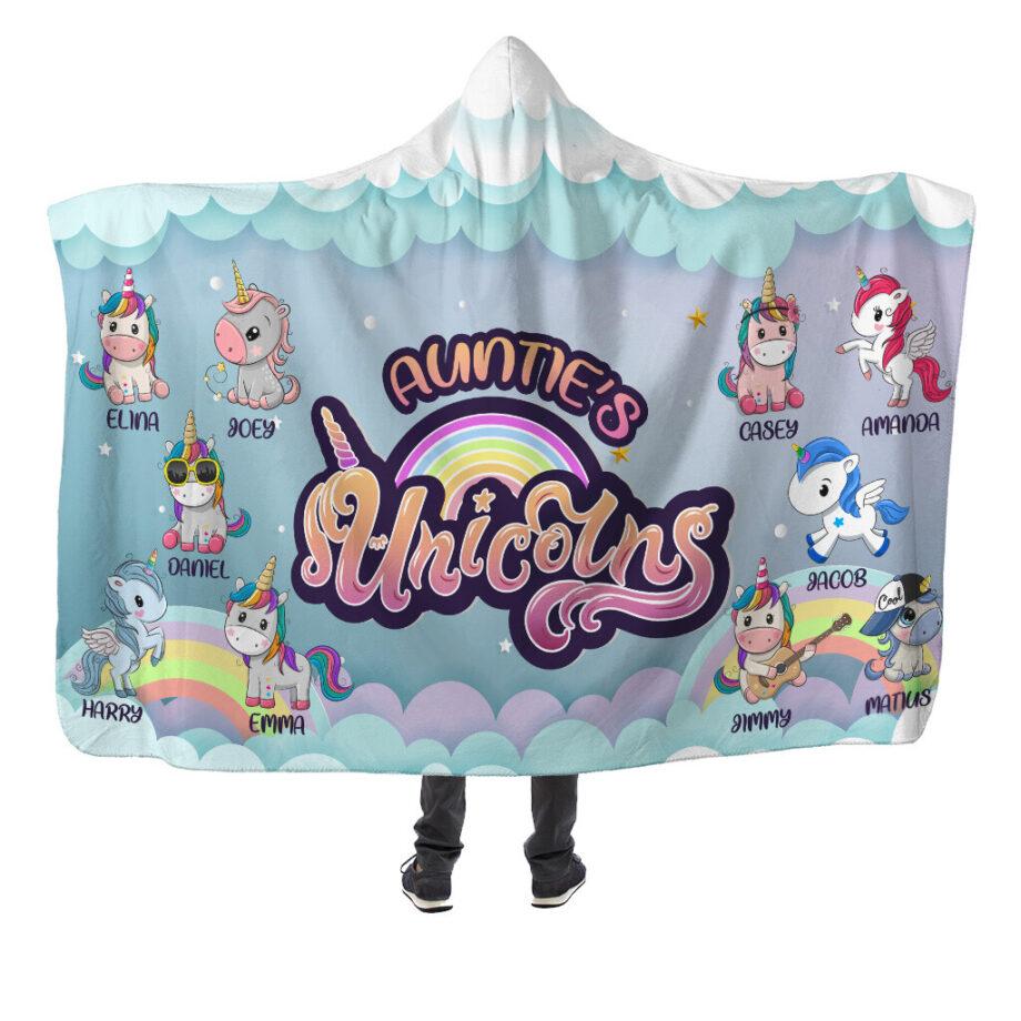 auntie's nieces nephews unicorns hooded blanket