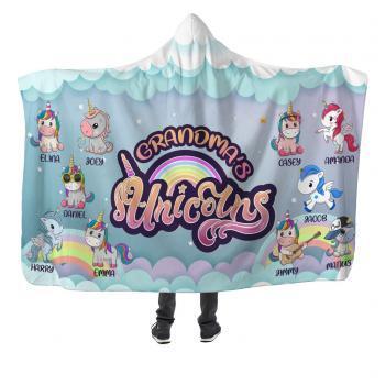 grandma's unicorns hooded blanket