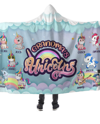 grandma's unicorns hooded blanket