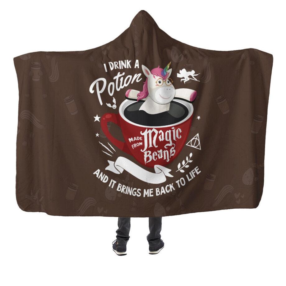 harry potter coffee unicorn hooded blanket