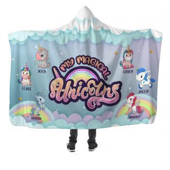 moms kids unicorns premium hooded blanket