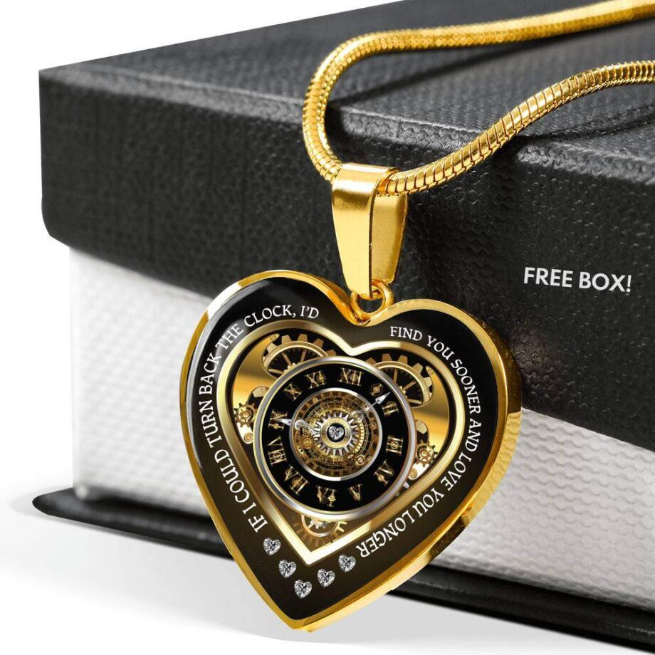Turn back the clock romantic wife gift heart necklace gold 03