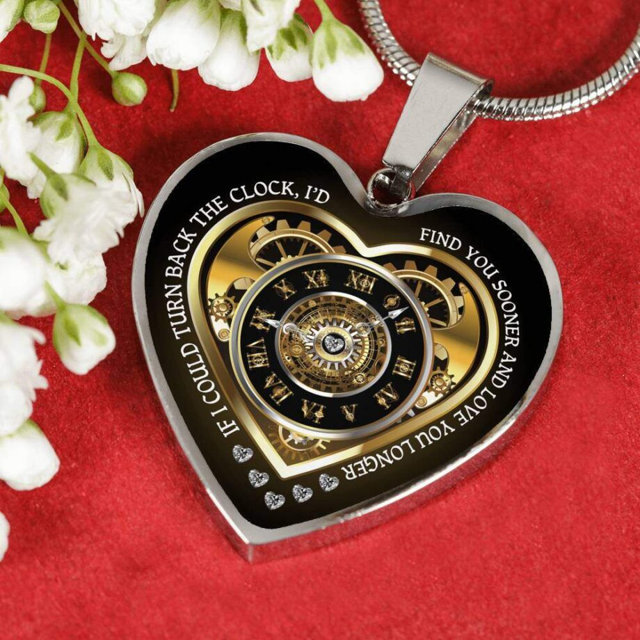 Turn back the clock romantic wife gift heart necklace silver 01