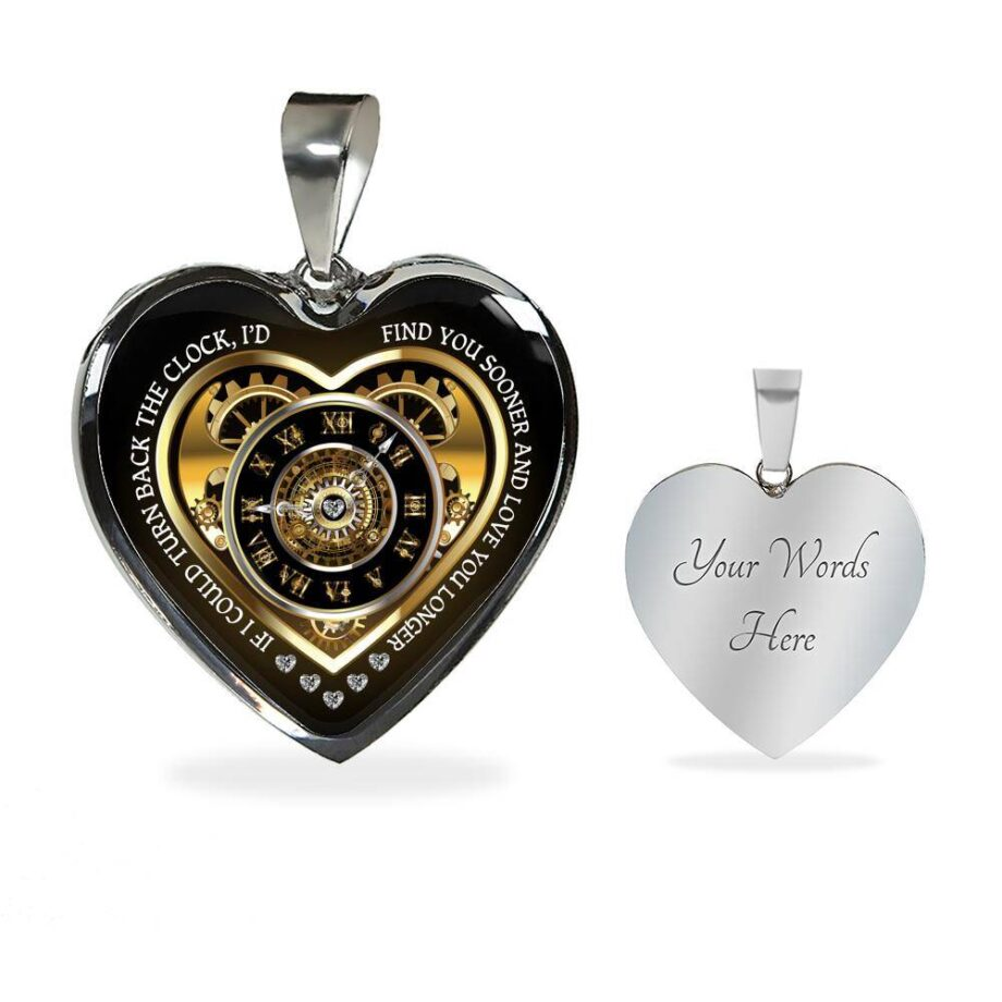 Turn back the clock romantic wife gift heart necklace silver 02