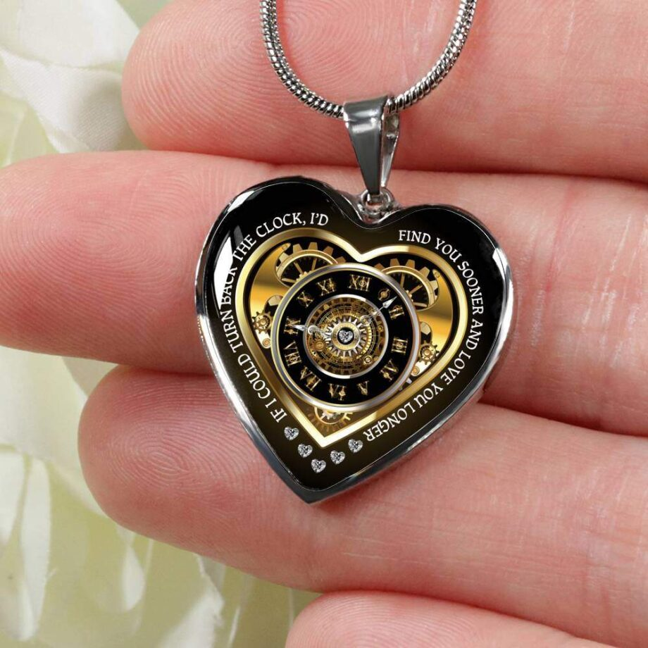 Turn back the clock romantic wife gift heart necklace silver 03