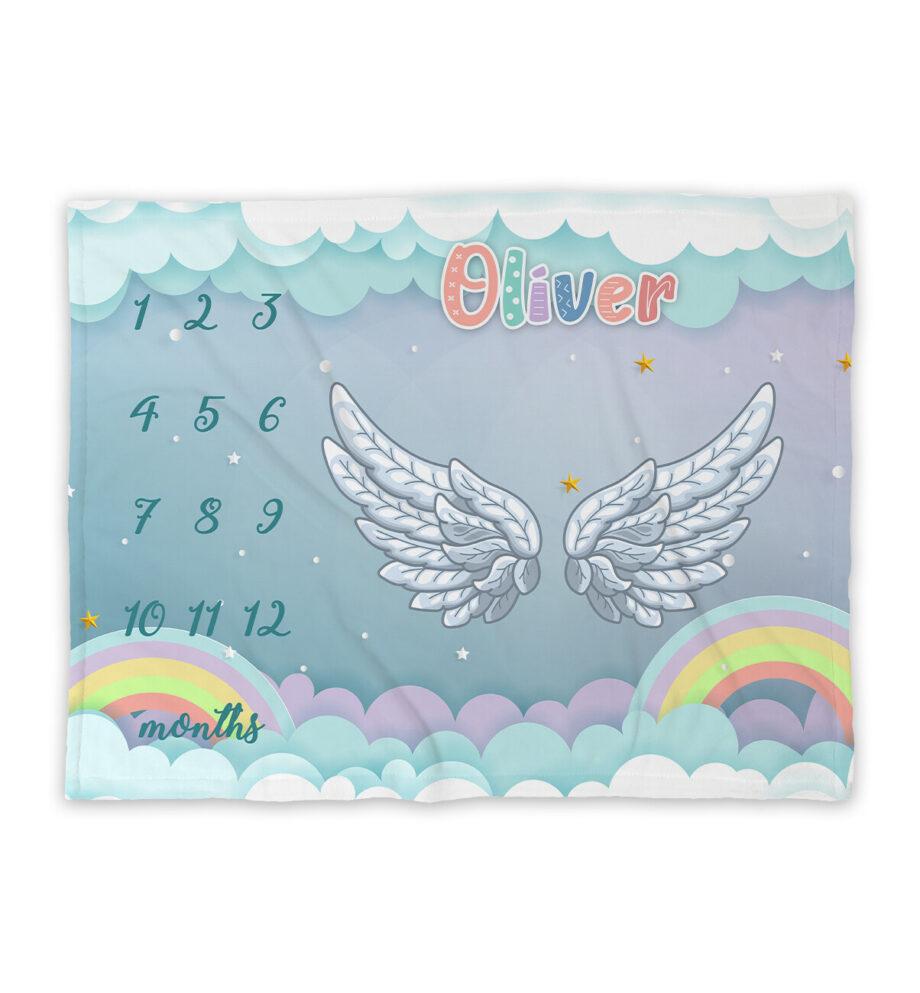 angel wings milestone blanket
