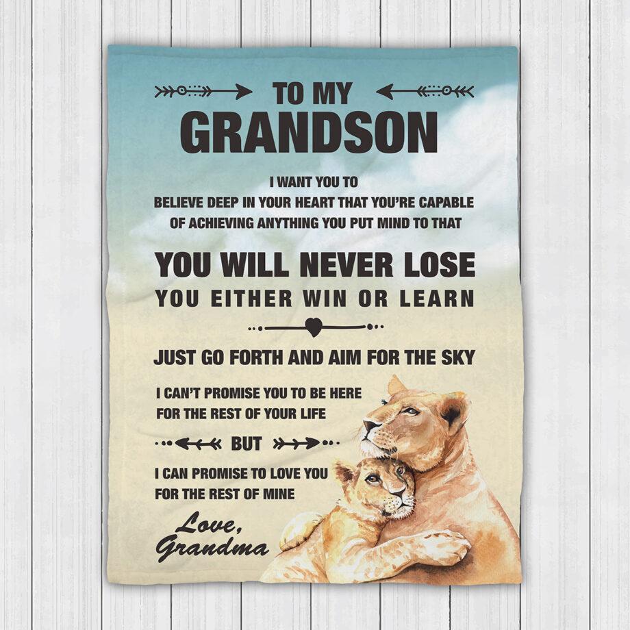 Grandma To Grandson Lion Blanket