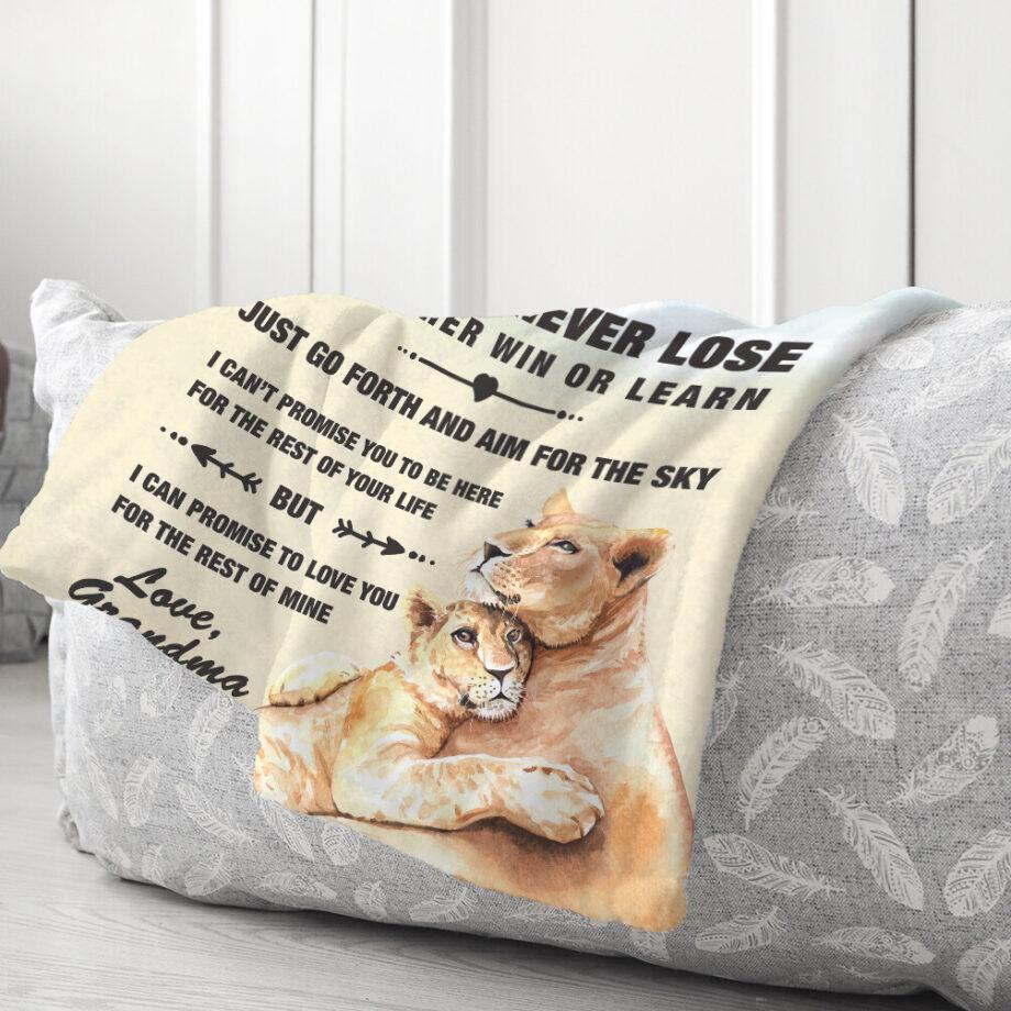 Grandma To Grandson Lion minky Blanket