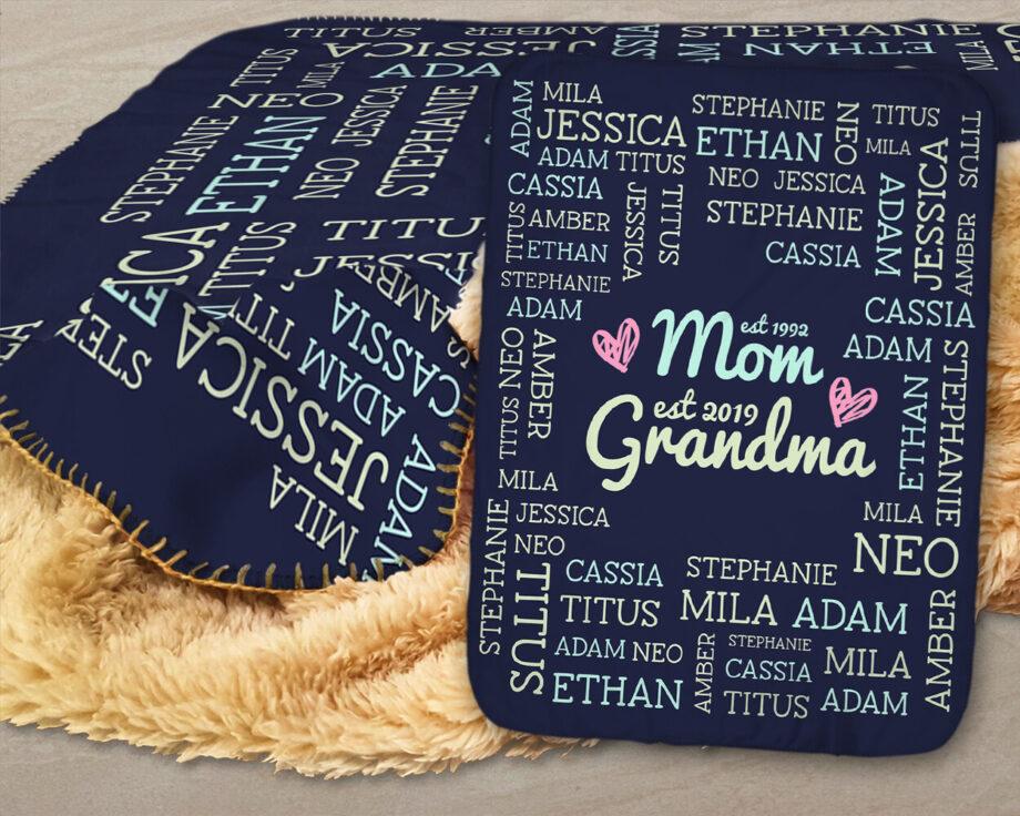 grandma grandkids names sherpa blanket