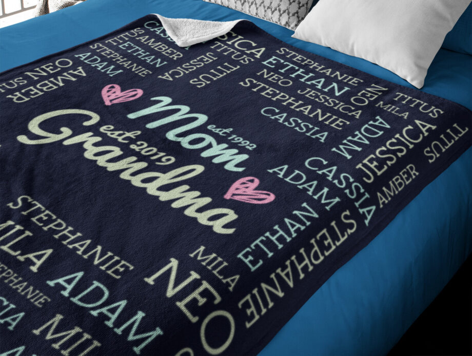 mom grandma kids grandkids names blanket 7