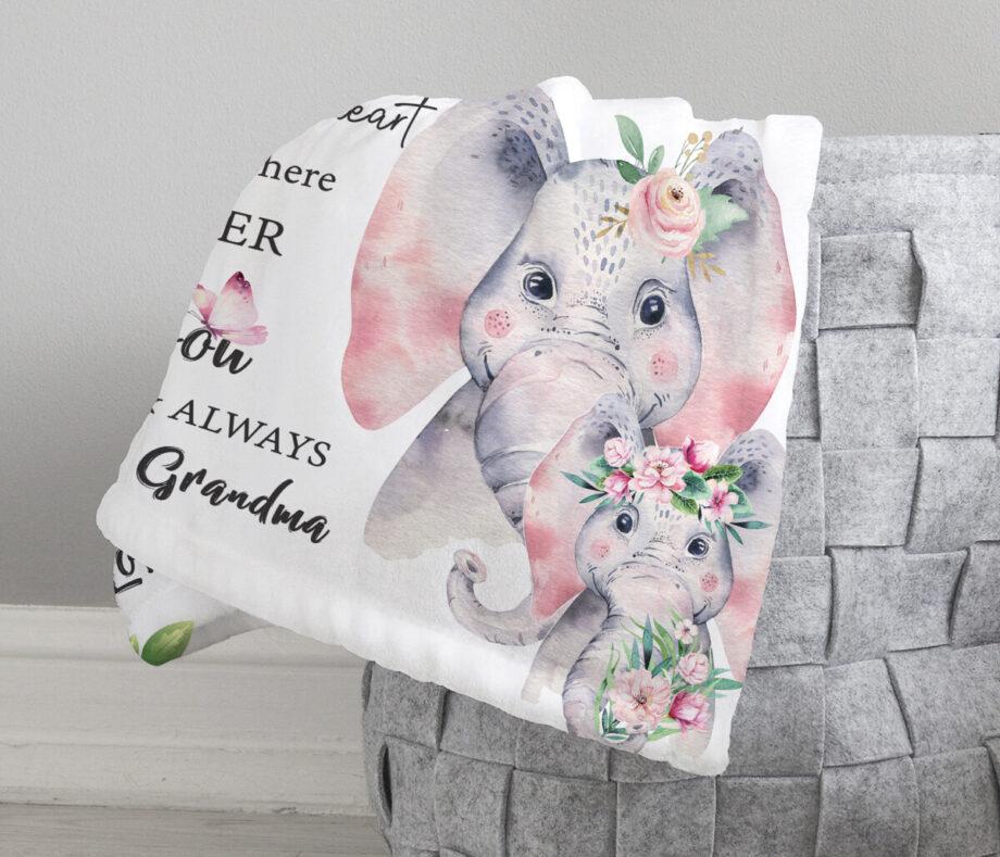personalized elephants granddaughter blanket