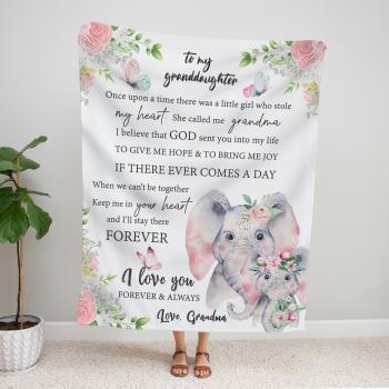 Personalized Elephant Granddaughter Blanket from Grandma