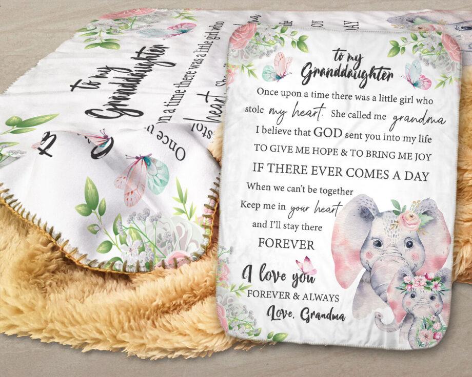 personalized elephants granddaughter sherpa blanket