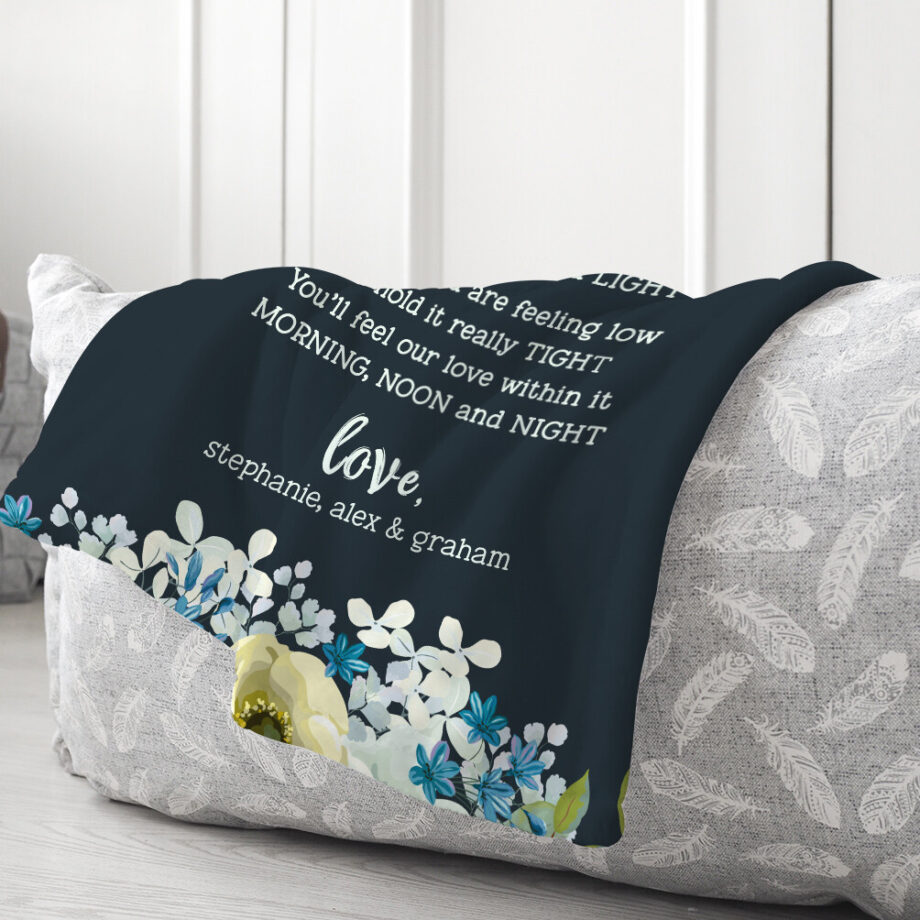 personalized grandma minky blanket with bluish floral