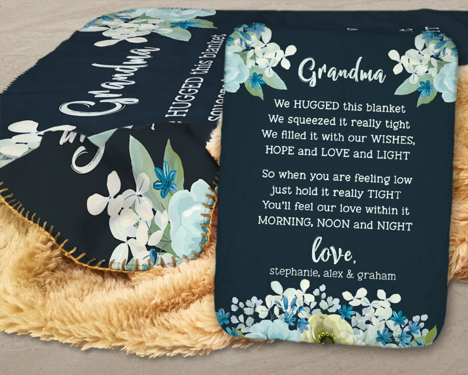 personalized grandma sherpa blanket with bluish floral