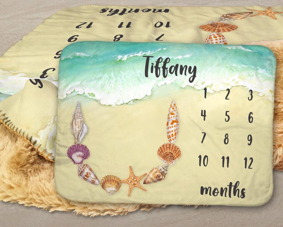seashells beach sherpa blanket