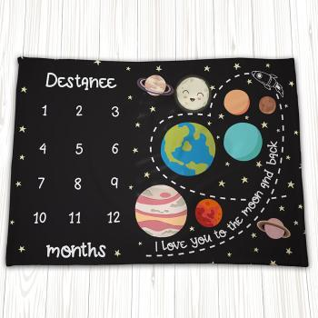 solar system outer space baby milestone blanket