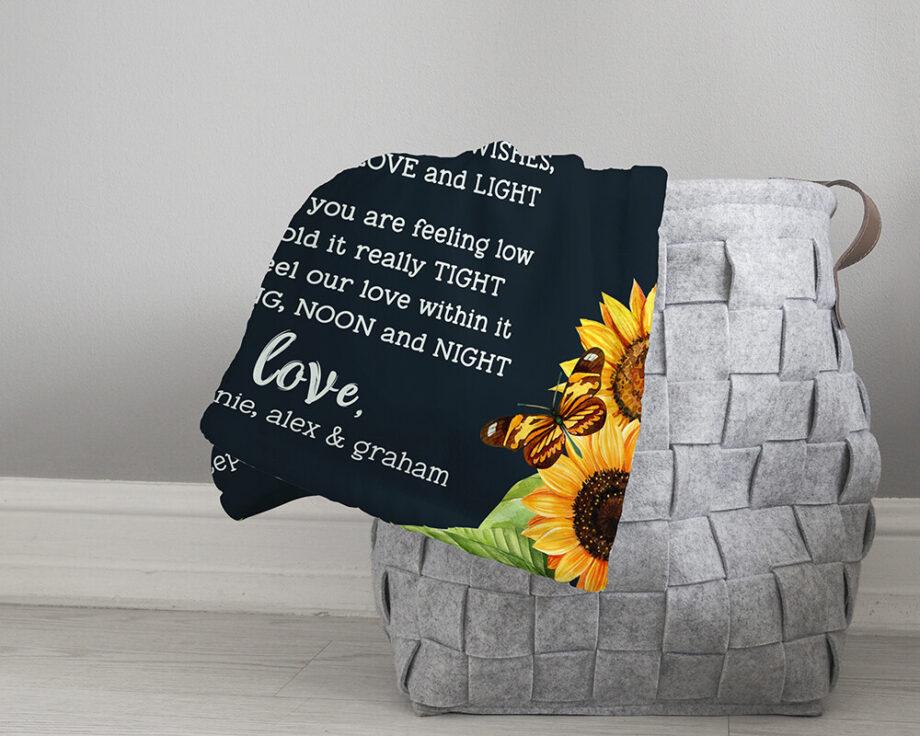 sunflower personalized grandma blanket