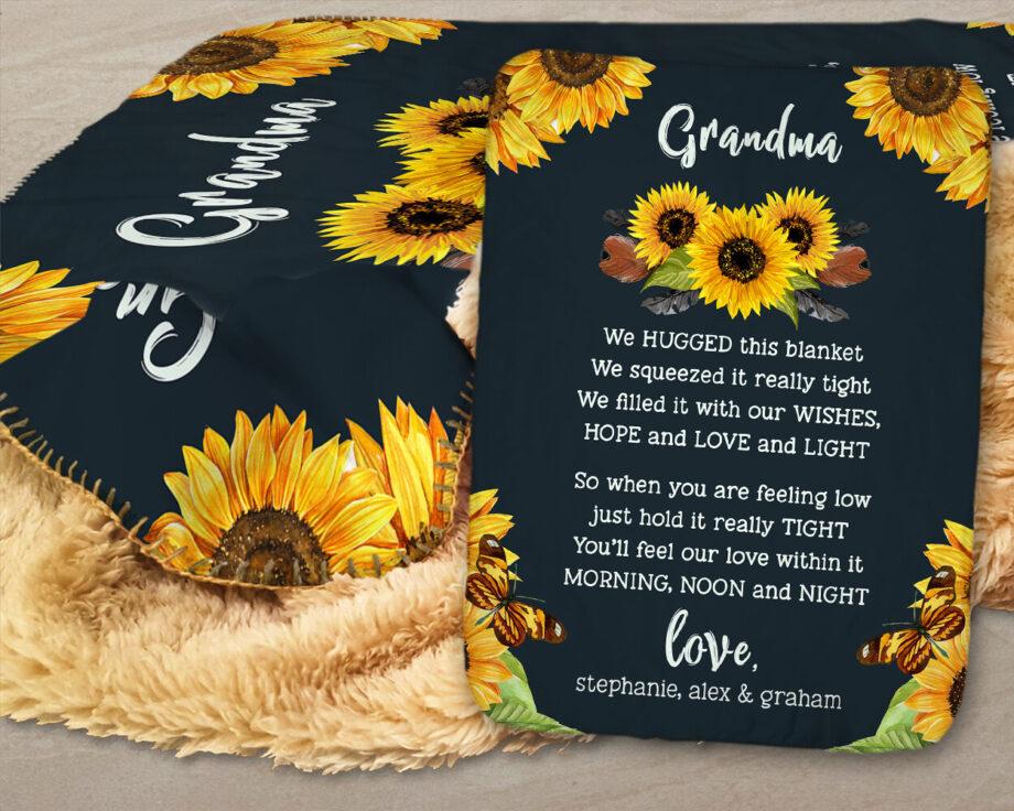 sunflower personalized grandma sherpa blanket