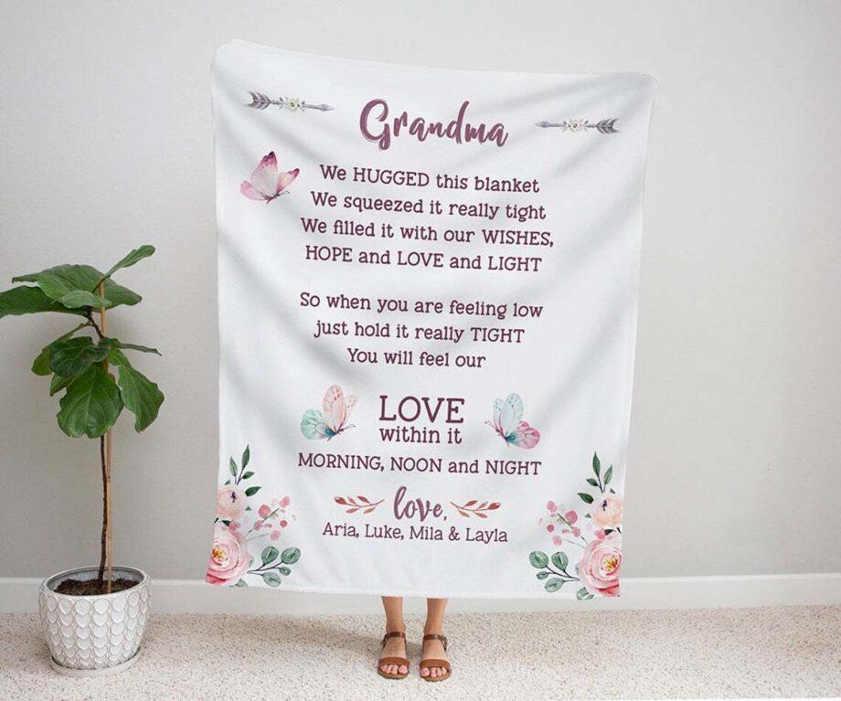 personalized grandma we hugged this blanket