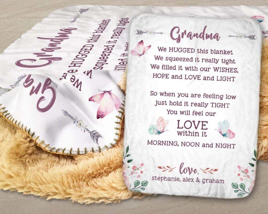 personalized grandma we hugged this sherpa blanket